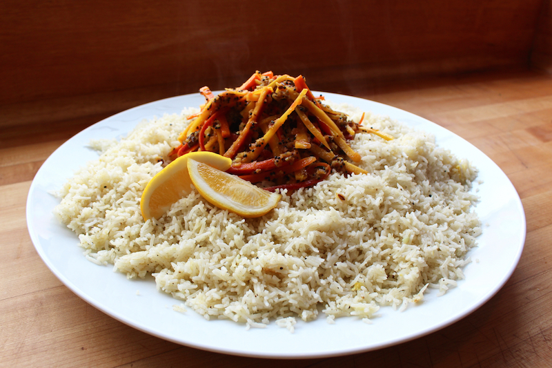 """Fluffy Lemon Rice with House Made Carrot """"Pickle"""""""