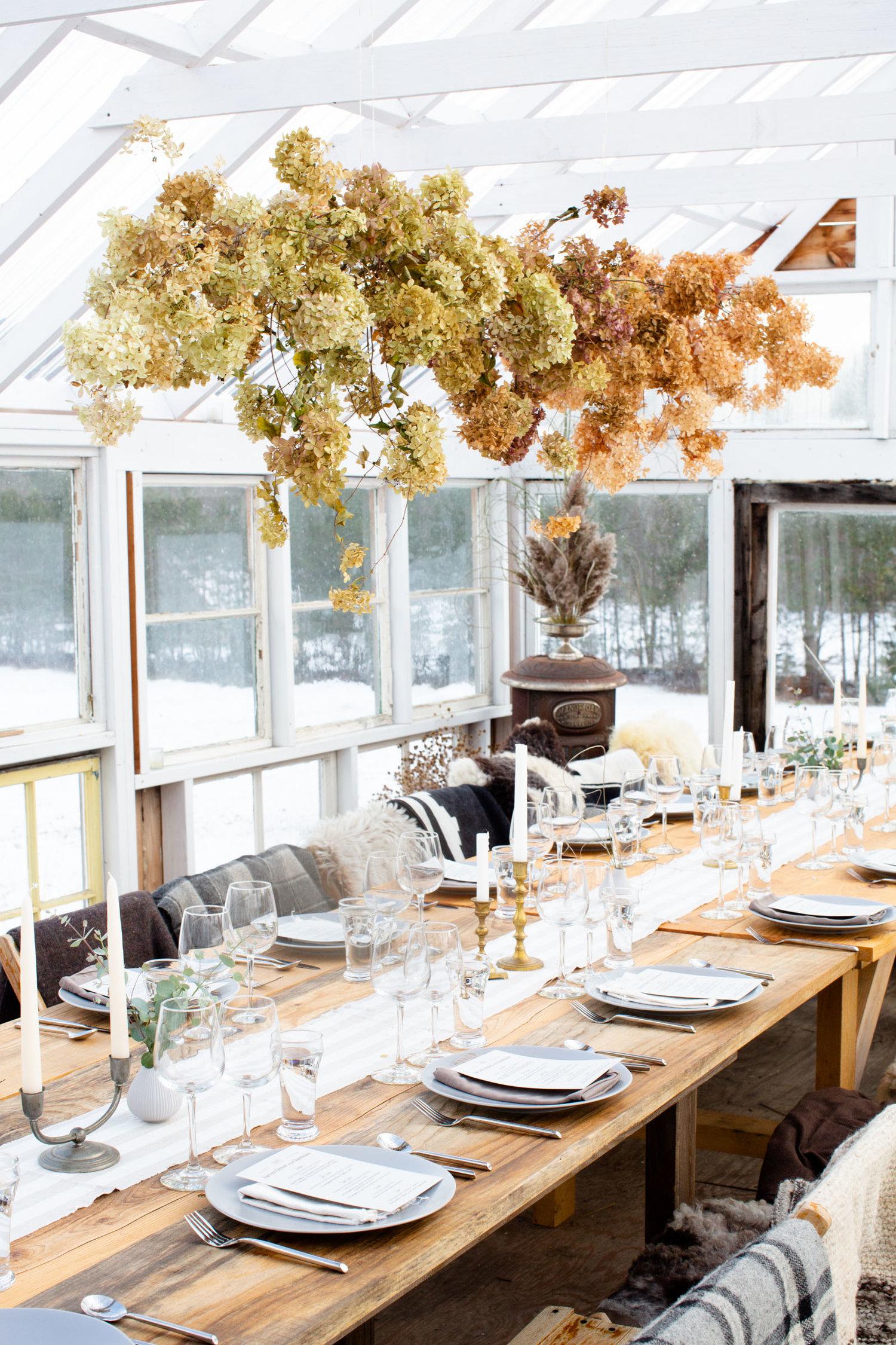 Stitchdown Glasshouse Dinner Floral Installation
