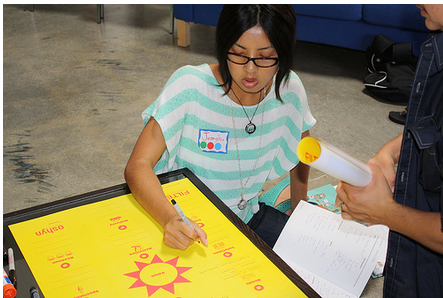 Jennylou Raya working on the Business Model Poster at MOVE!