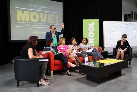 Jose Caballer and Tatjana Luethi during sharing time at MOVE!