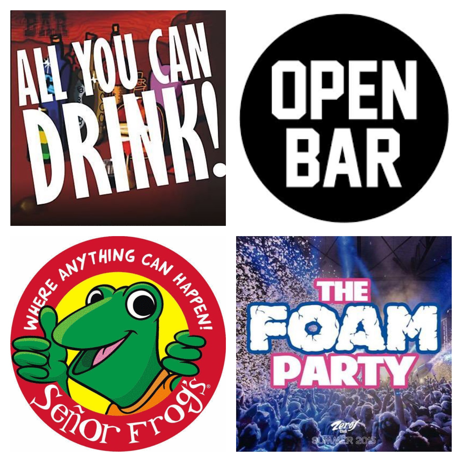 Foam Party and Open Bar Options