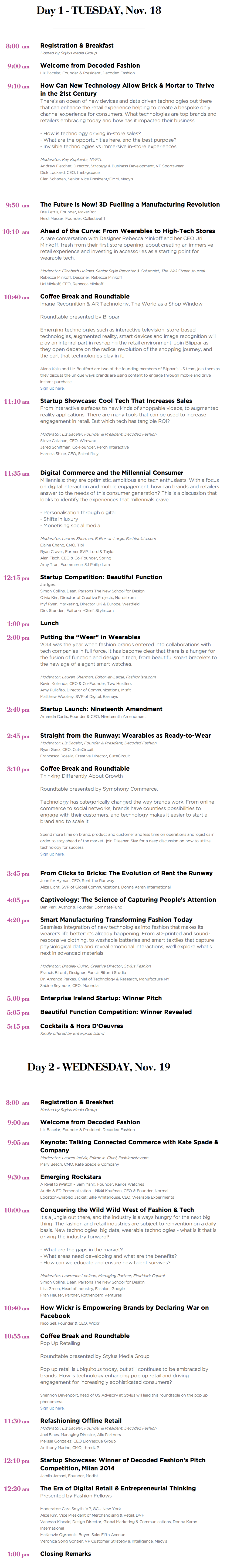 Decoded Fashion New York Summit 2014 Agenda