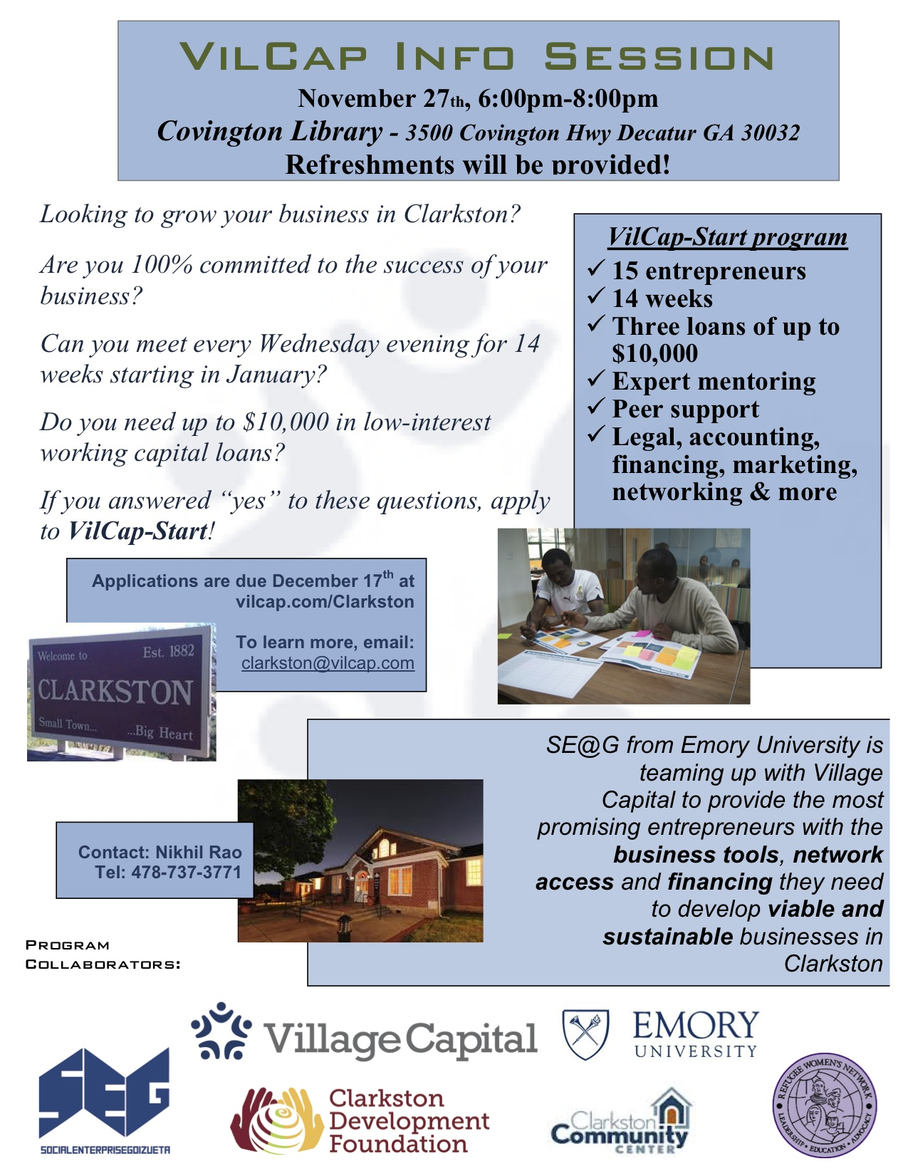 Covington Library Info Session Flyer