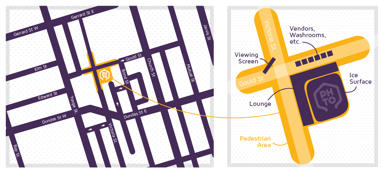 Map showing the location of the PrideHouse TO winter games lounge