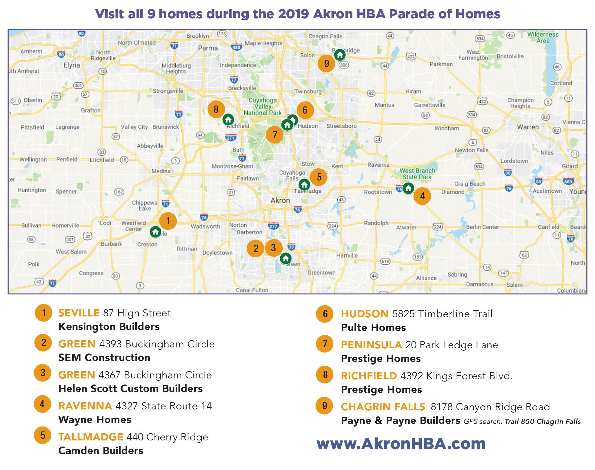 2019 HBA Parade of Homes Map