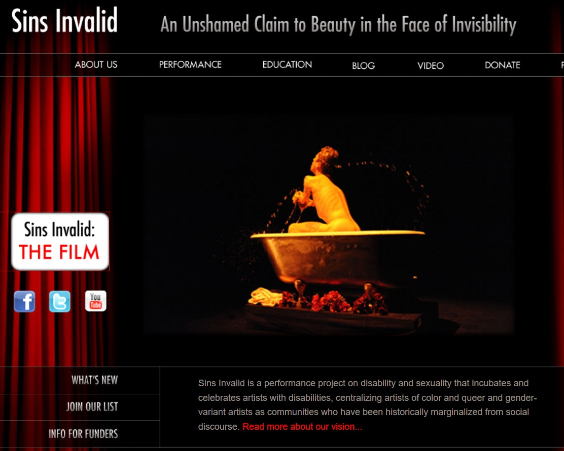 web page image with information on Sin Invalid's film