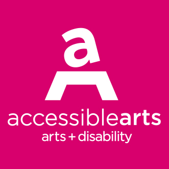 Accessible Arts logo, white on magenta