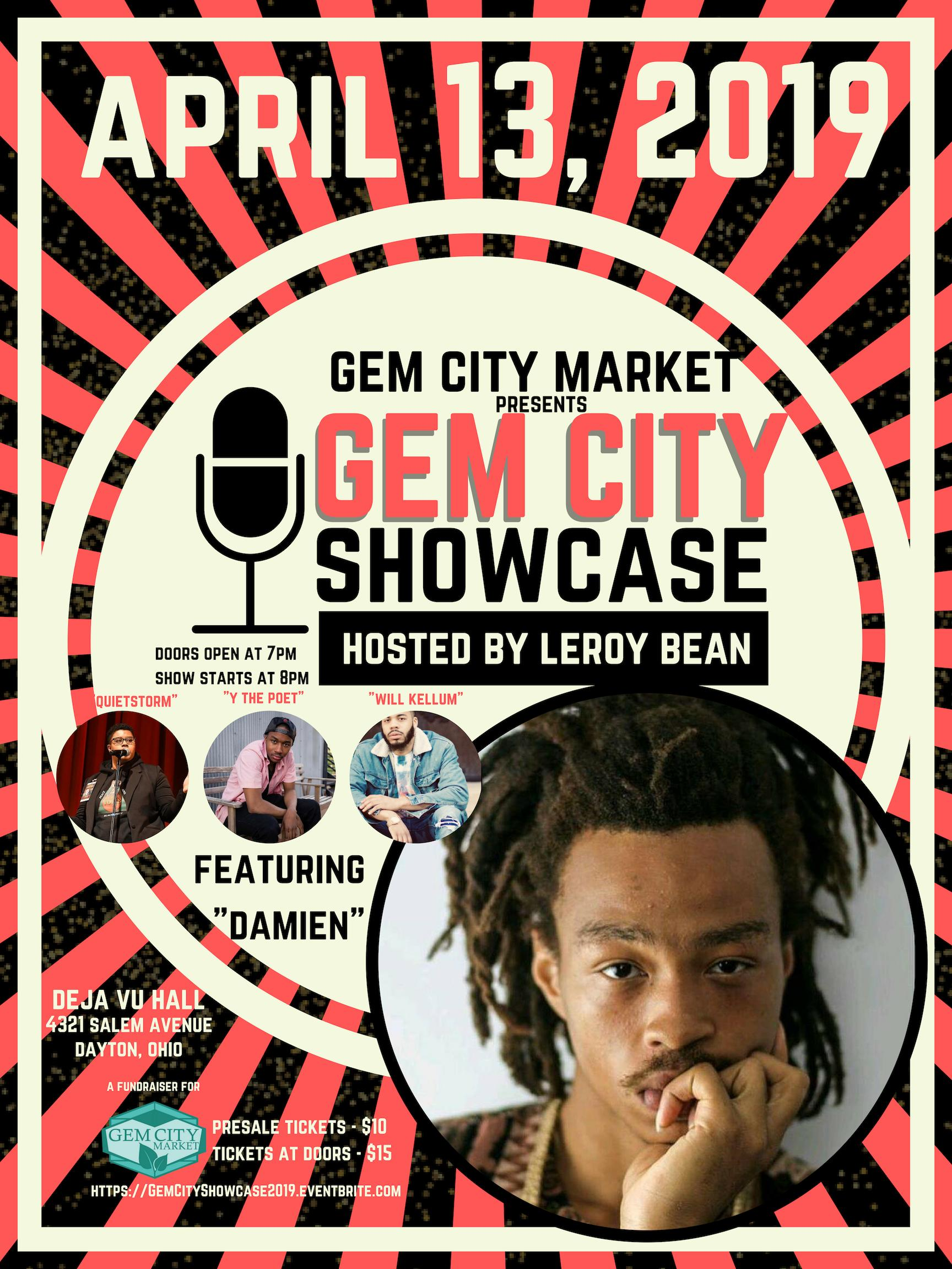 Gem City Market Poetry Showcase Main Event Poster featuring Damien, Y the Poet, Quite Storm, and Will Kellum. Doors at 7pm