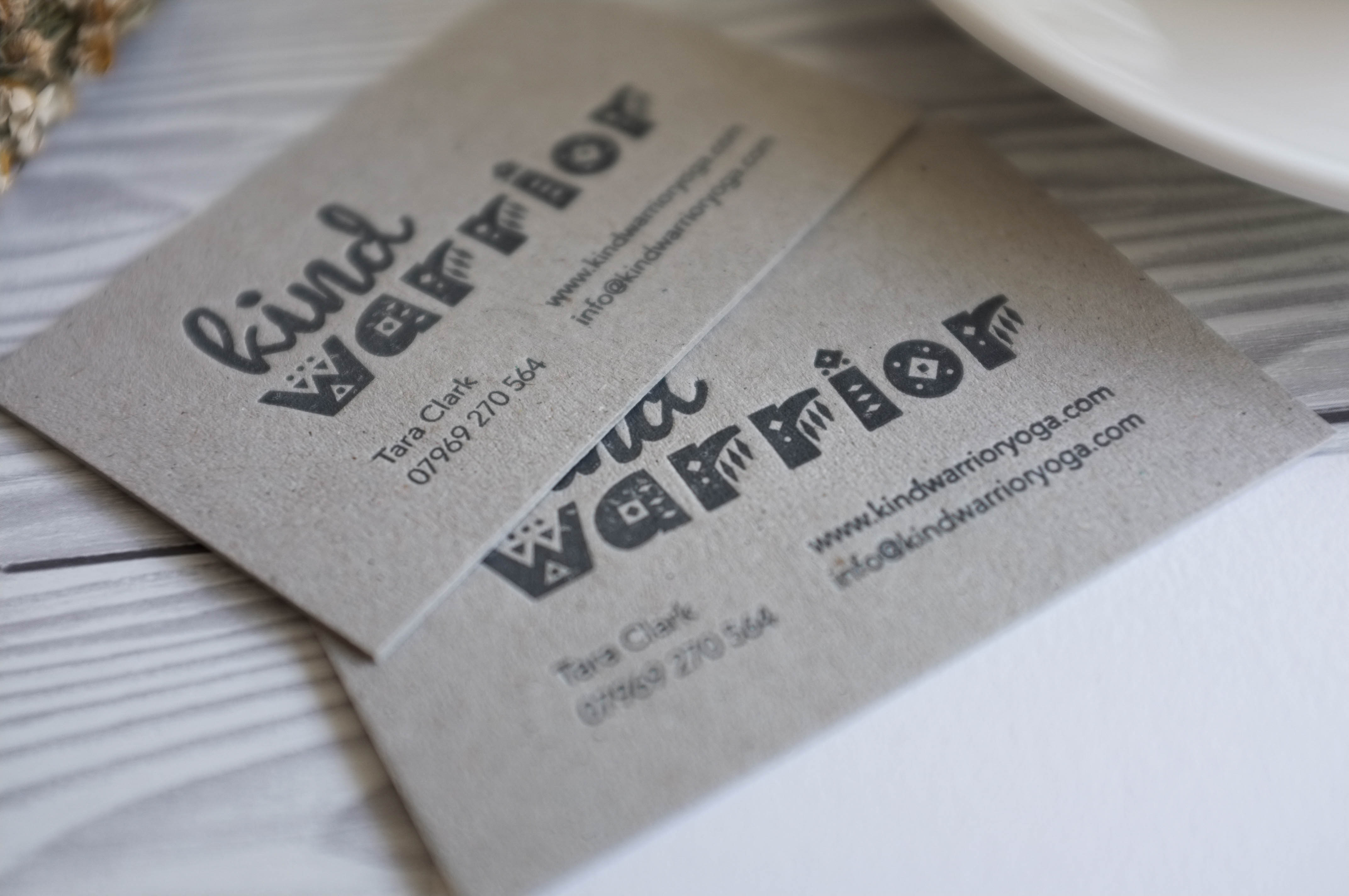 Letterpressed business cards printed on heavy greyboard