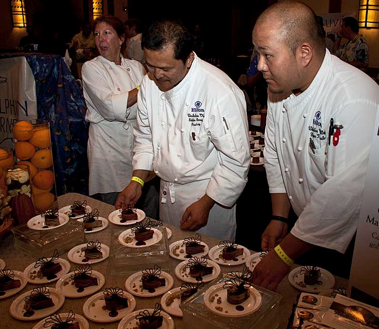 Chefs prepare their tastings for the Big Island Chocolate Festival