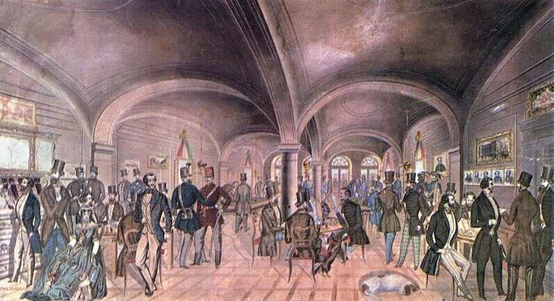 Pilvax Café in the 1840s