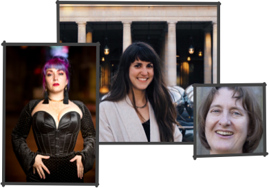 Collage of three photos. Left: Marianne Faulkner with purple hair wearing a black corset. Center: Natalia Lauricella with long dark wear hearing a white blazer in front of a building. Right: Head shot of Sarah Curtis with short brown hair.