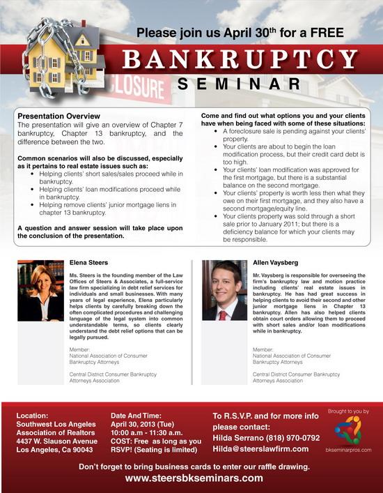 Bankruptcy Workshop in Southwest Los Angeles April 30 2013