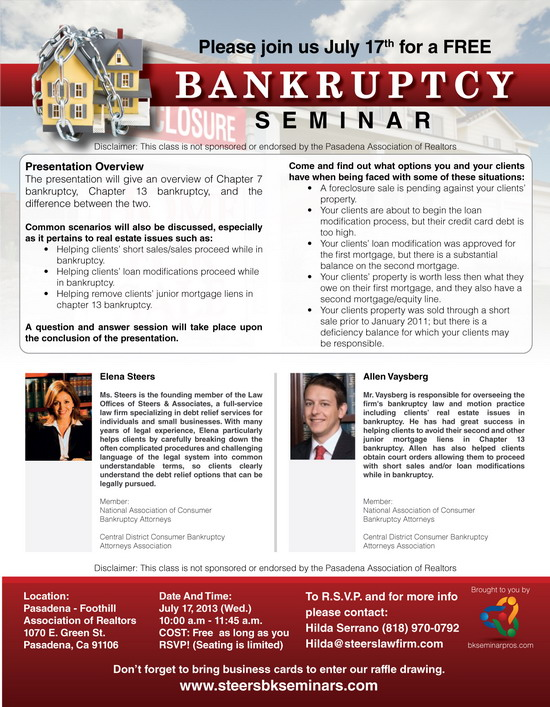 Bankruptcy & Foreclosure Seminar Flyer