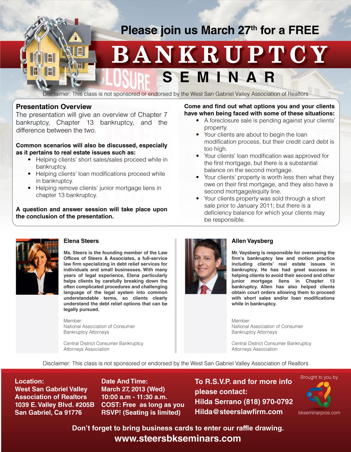 Bankruptcy Workshop March 27 2013 in San Gabriel Valley