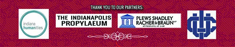 Logos for Indiana Humanities, The Indianapolis Propylaeum, Plews Shadley Racher & Braun, the University Club