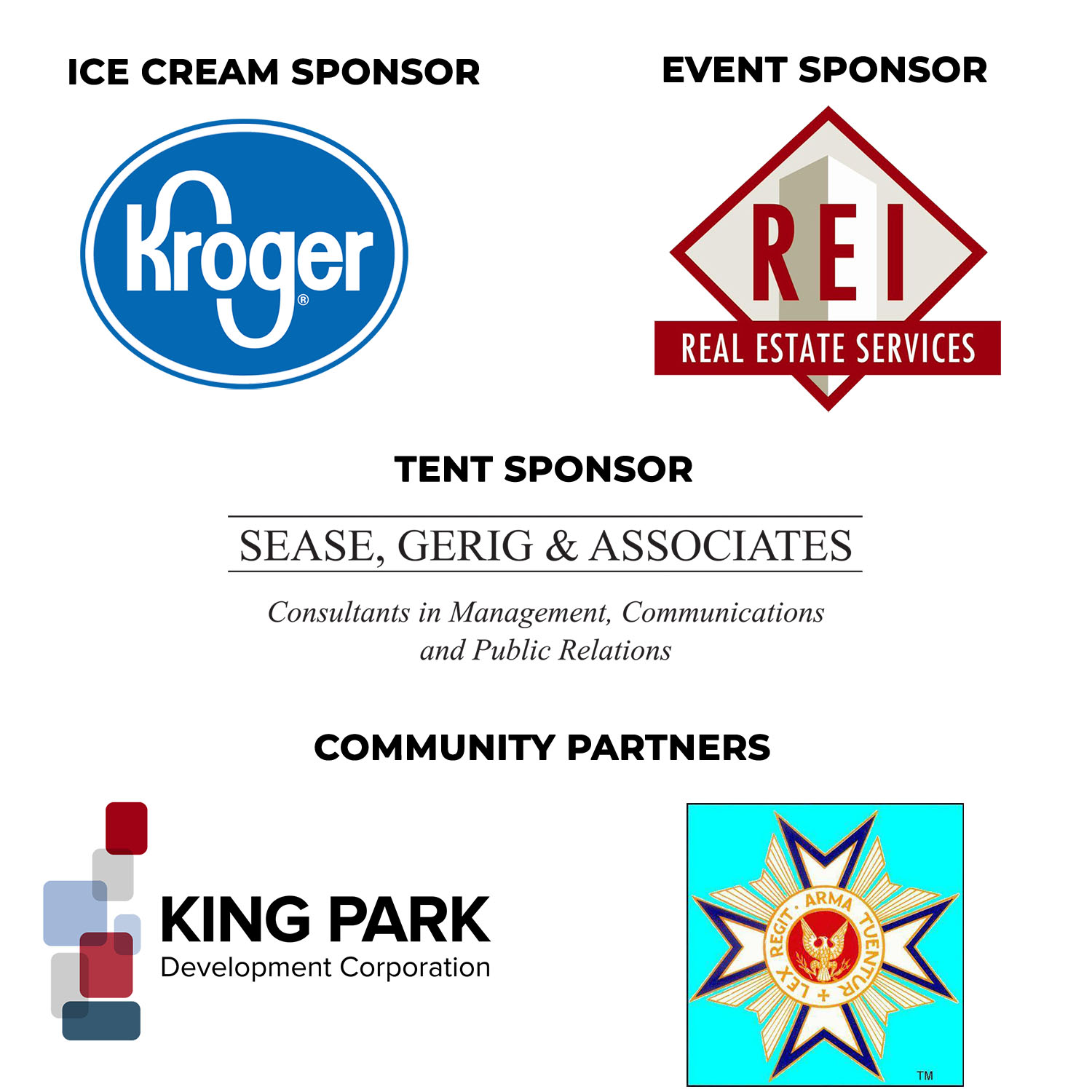 Graphic image of Independence Day Social sponsor logos.