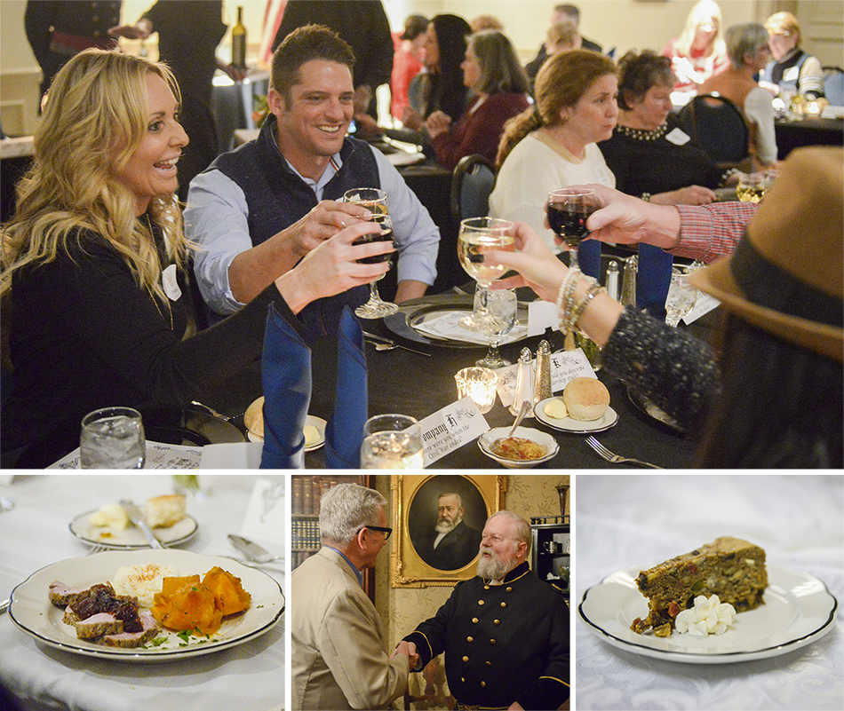 Photographs of food and people enjoying themselves at the Civil War Dinner at the Presidential Site.