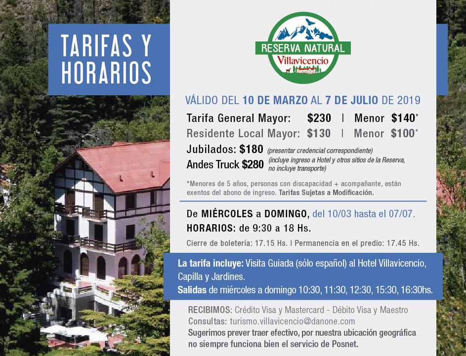 Tarifas y Horarios Reserva Natural Villavicencio primer semestre 2019
