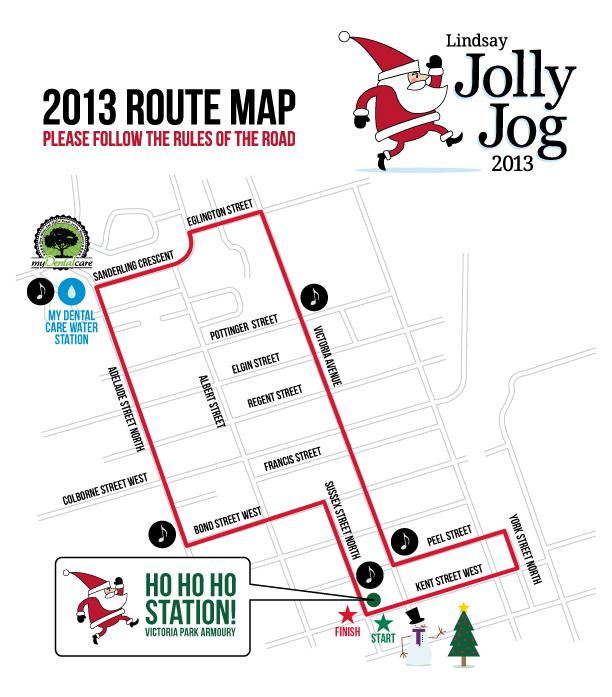 2013 Lindsay Jolly Jog Route Map