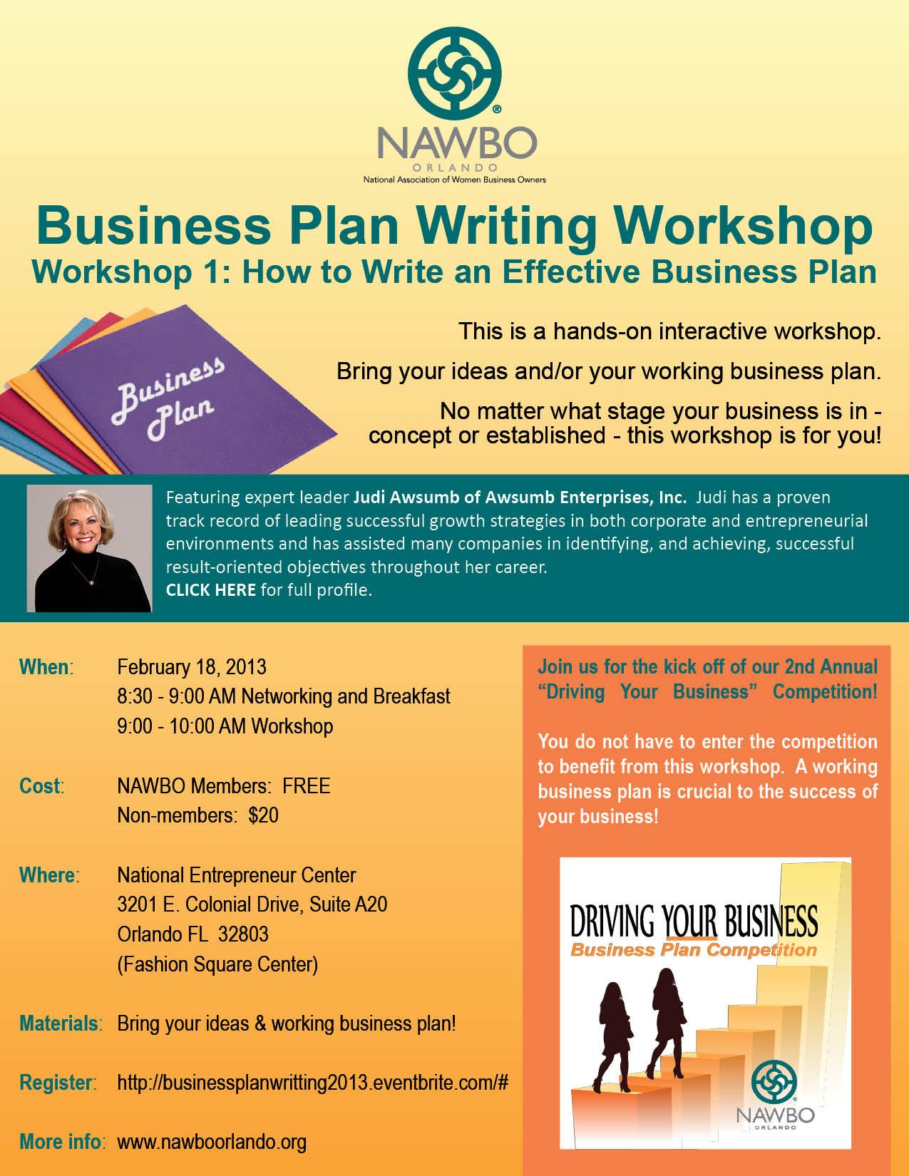 Business Plan Writing Workship 2013