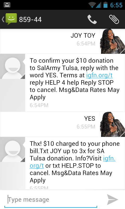 Text to give to Tulsa Salvation ARmy