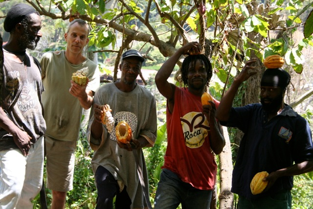 Cocoa pod fashion? The team from the Grenada Chocolate Company with their pick of the bunch.