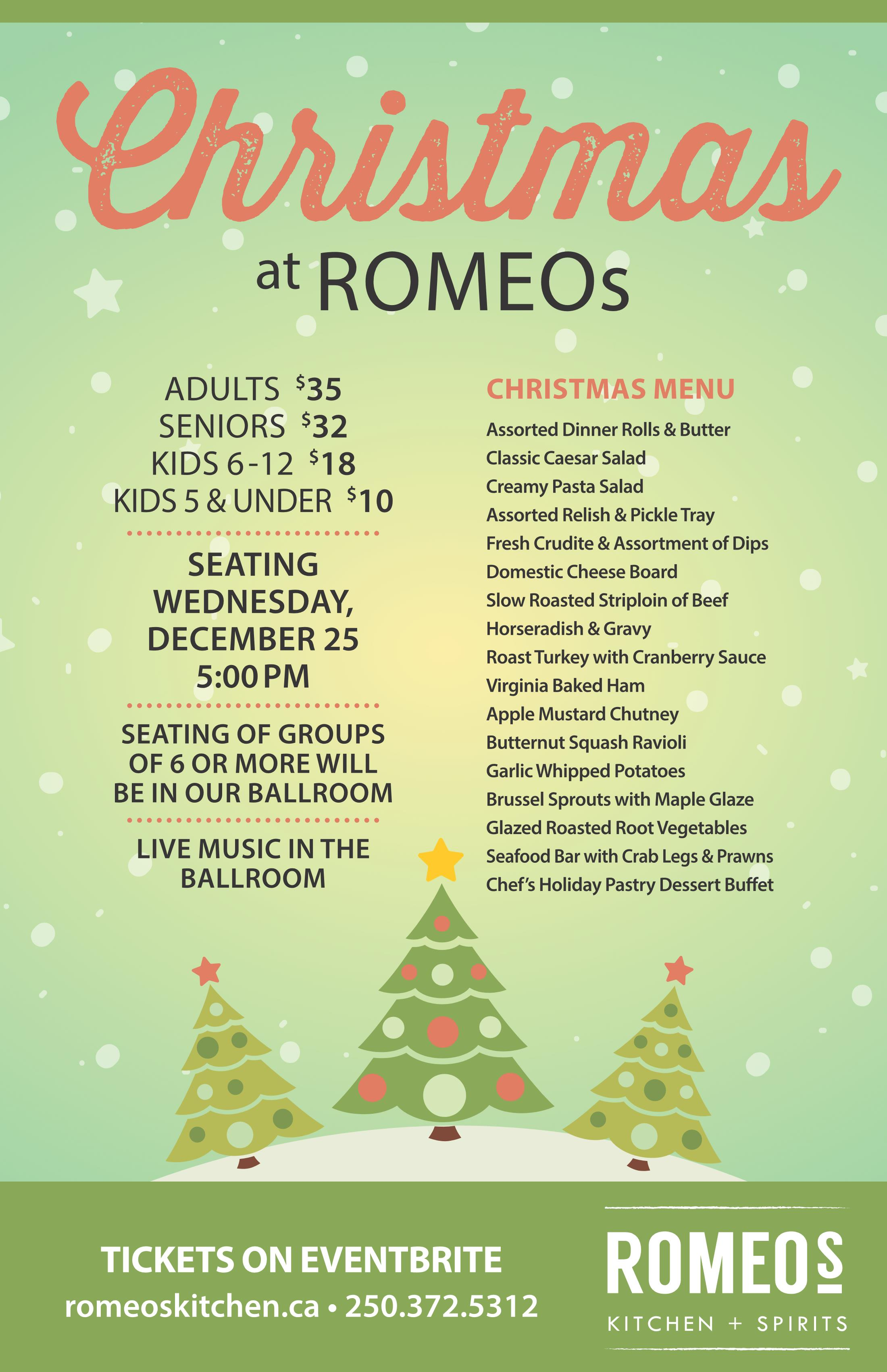 Christmas Dinner Menu.Christmas Dinner Romeos Kitchen The Coast Kamloops Hotel And Conference Centre