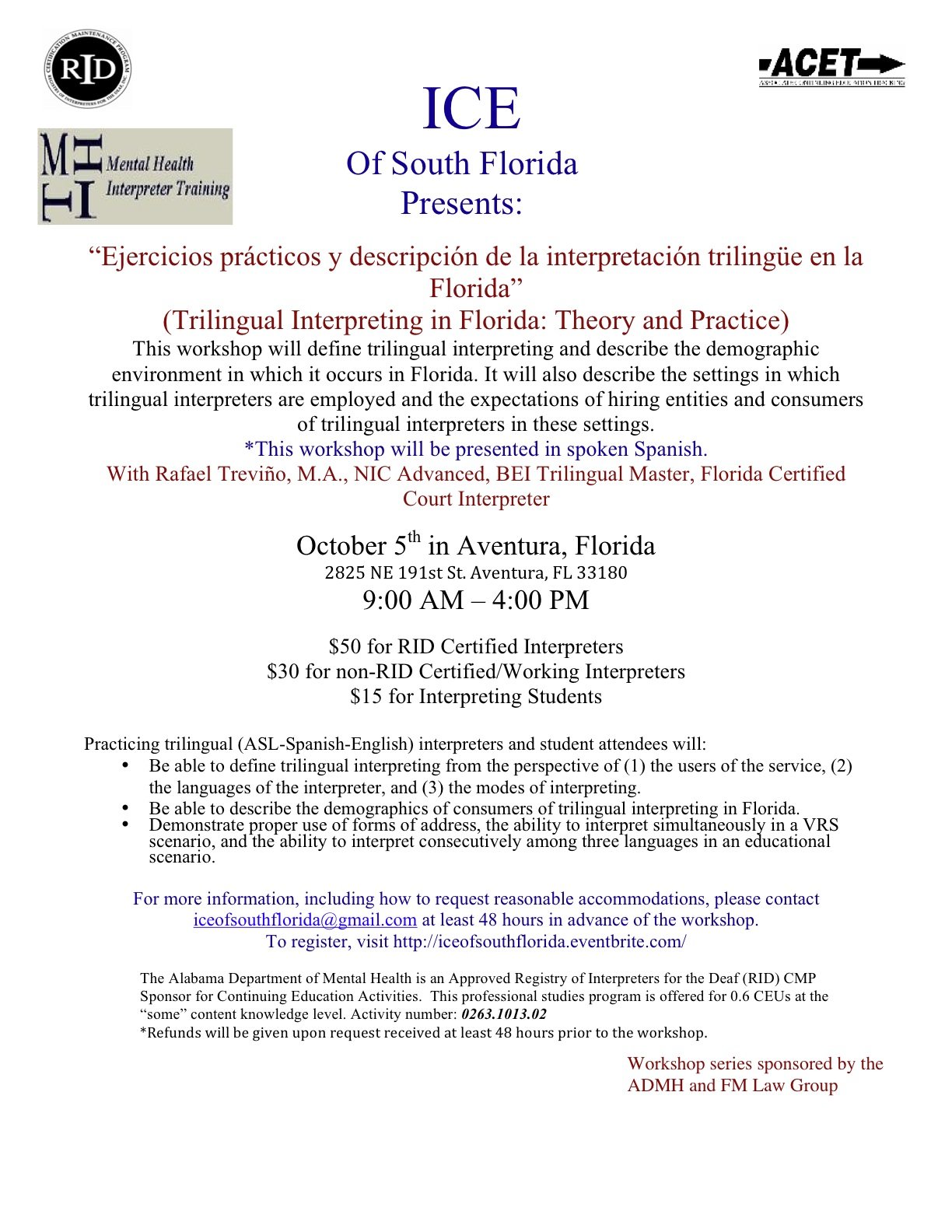 Trilingual workshop flyer
