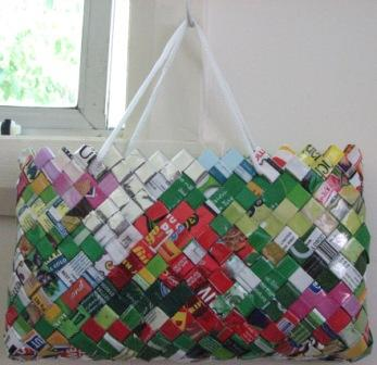 This bag was woven from the plastic wrappers of Cherry Ripes, Ice Creams, Muesli, Frozen Peas, Chips, Dried Fruit, etc.
