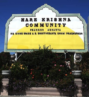 The front entrance to the Hare Krishna community in Culver City