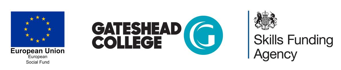 ESF, SFA, Gateshead college logos