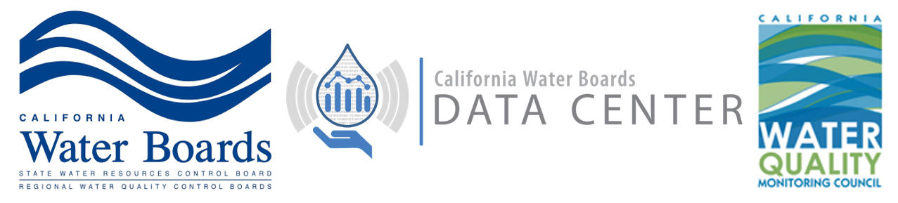 Logos for the California State Water Resources Control Board, California Water Boards Data Center, and the California Water Quality Monitoring Council