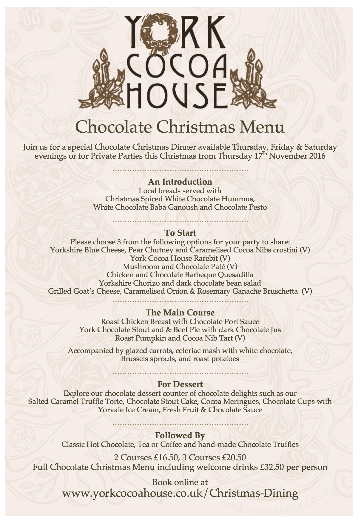 York Cocoa House Christmas Chocolate Menu
