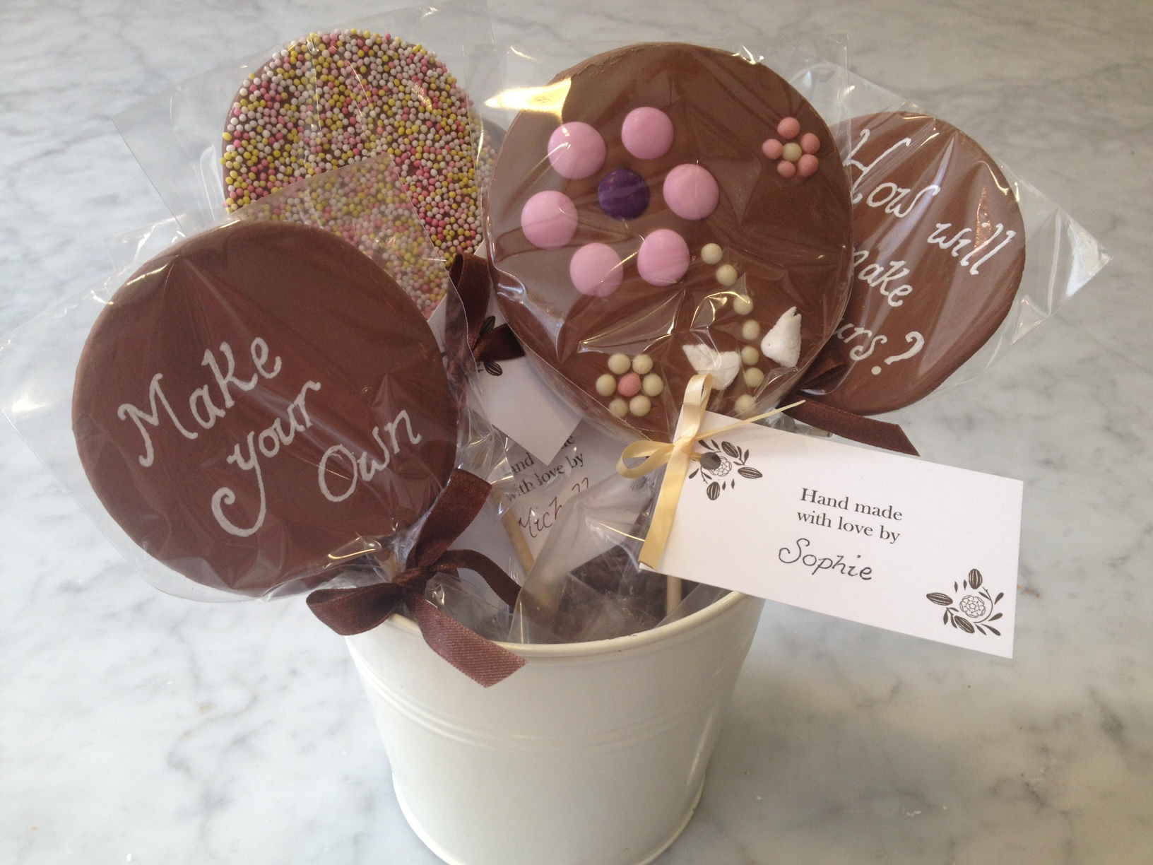 Chocolate Lollipops Hand Made with Love