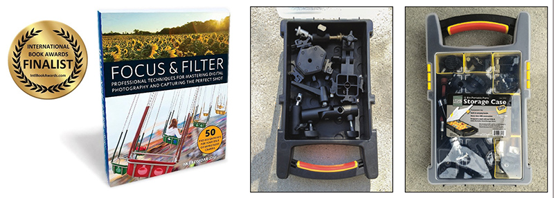 Focus and Filter book by Andrew Darlow and Storage Cases