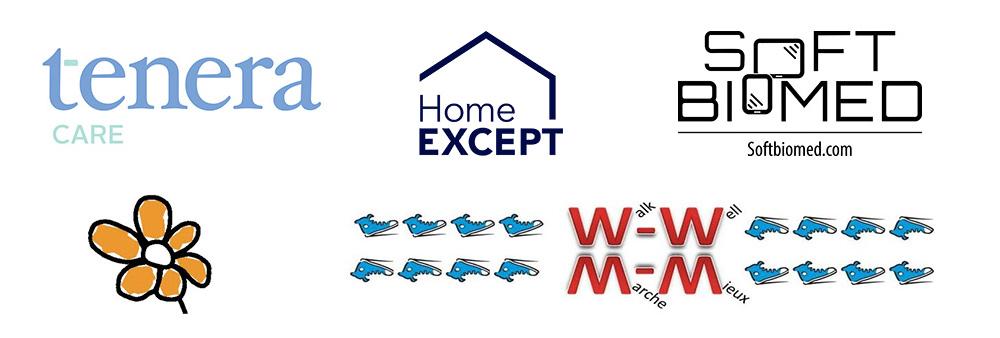 Logos of Tenera Care, HomeEXCEPT, Soft Biomed, Urban Farms Organic, Walk-Well Universe