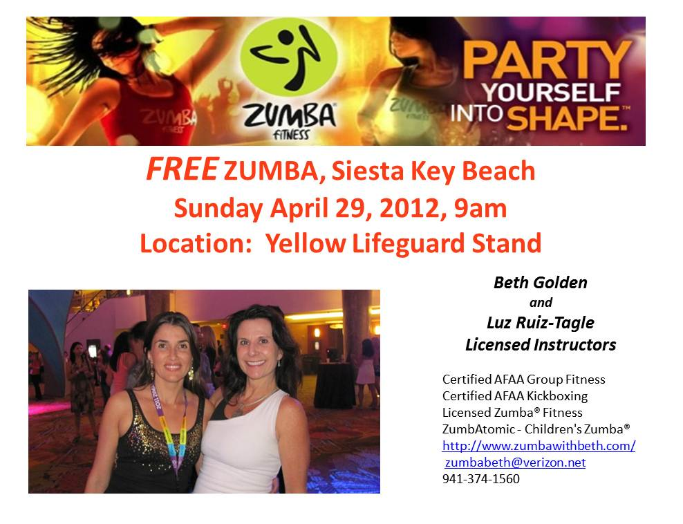 FREE ZUMBA at SIESTA KEY BEACH SUN APr 29