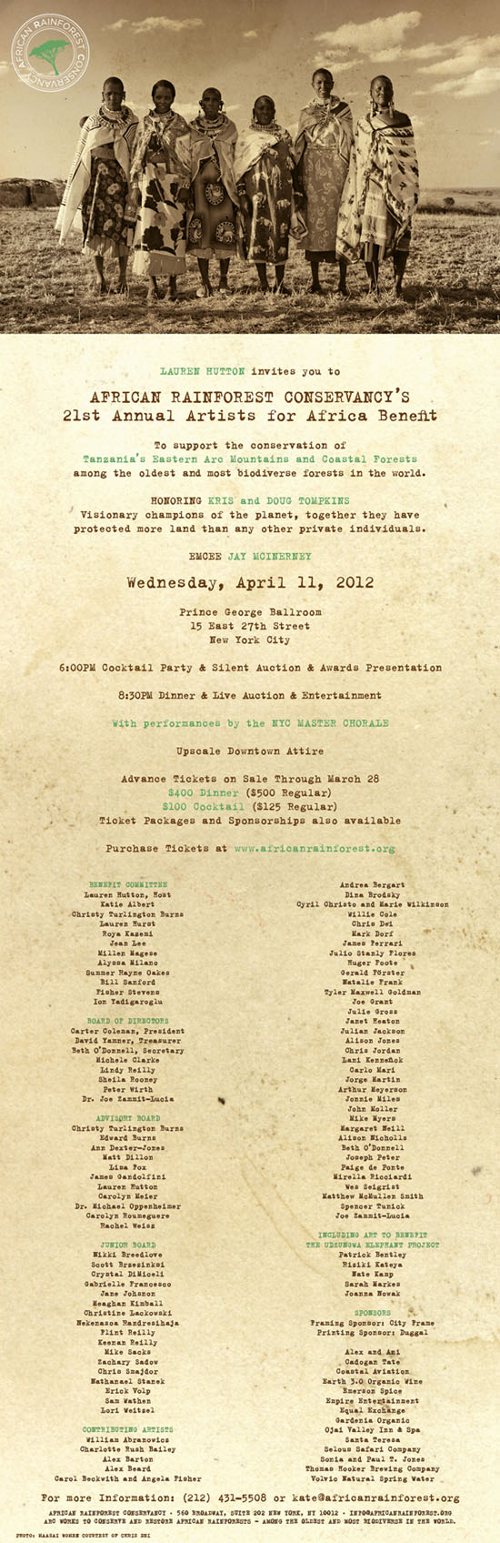 Artists for Africa Invitation 2012