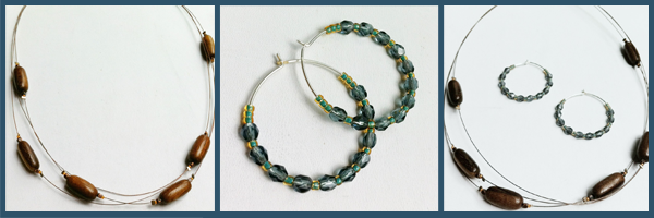 bead and wire earrings and necklace