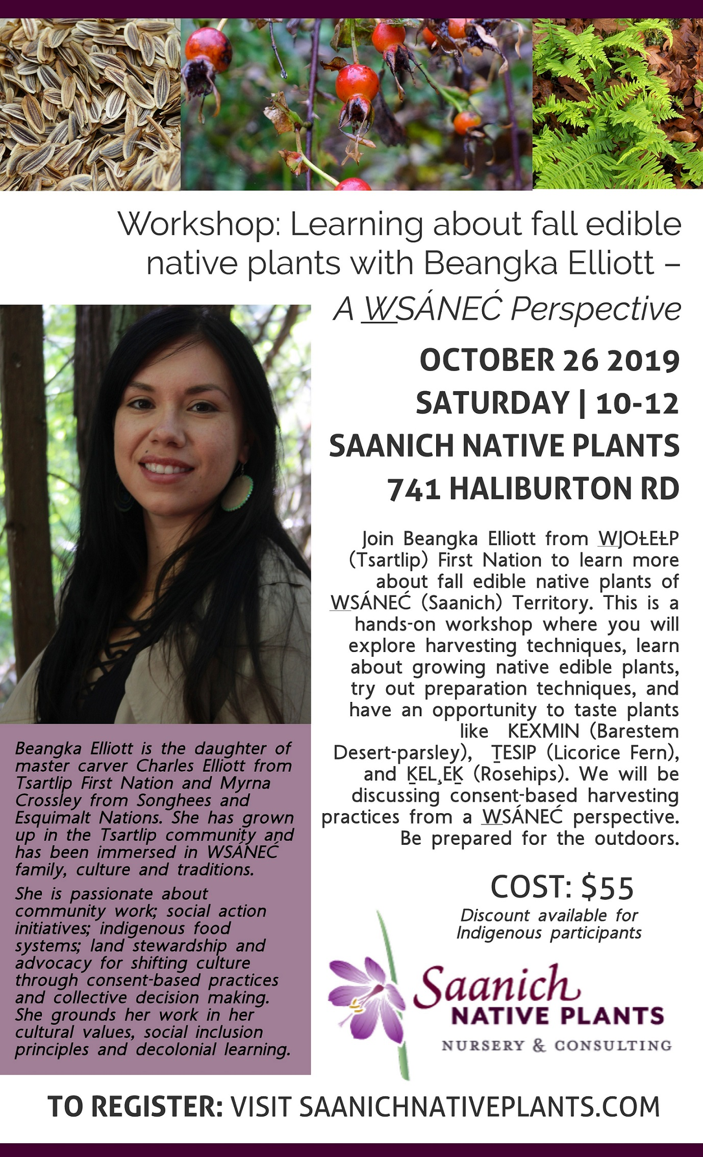 Poster for Fall Edible Native Plant Workshop