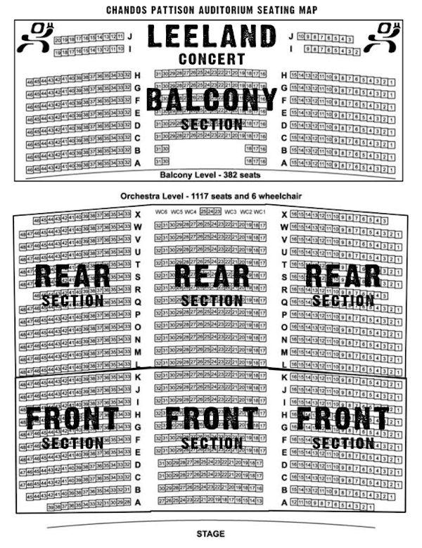 Chandos Pattison Auditorium Seating Map