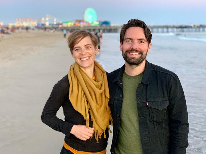 Radical Honesty Trainers Lindsay St. Antoine & John Rosania on the beach in Santa Monica, following a Radical Honesty Weekend Workshop