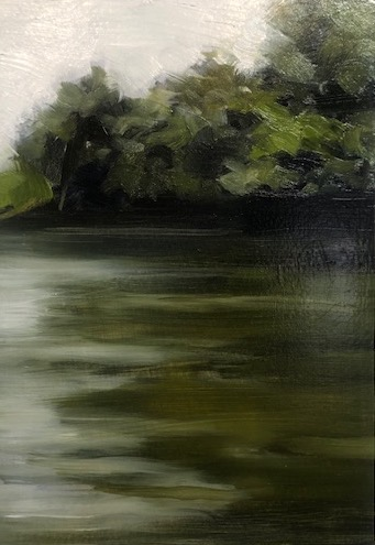 Peter Roux, On The French Broad No. 5, oil on panel