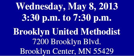 Wed., May 8, 2013, 3:30-7:30 pm, Brooklyn United Methodist