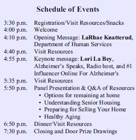 Savor Life Educational Fair Schedule of Events