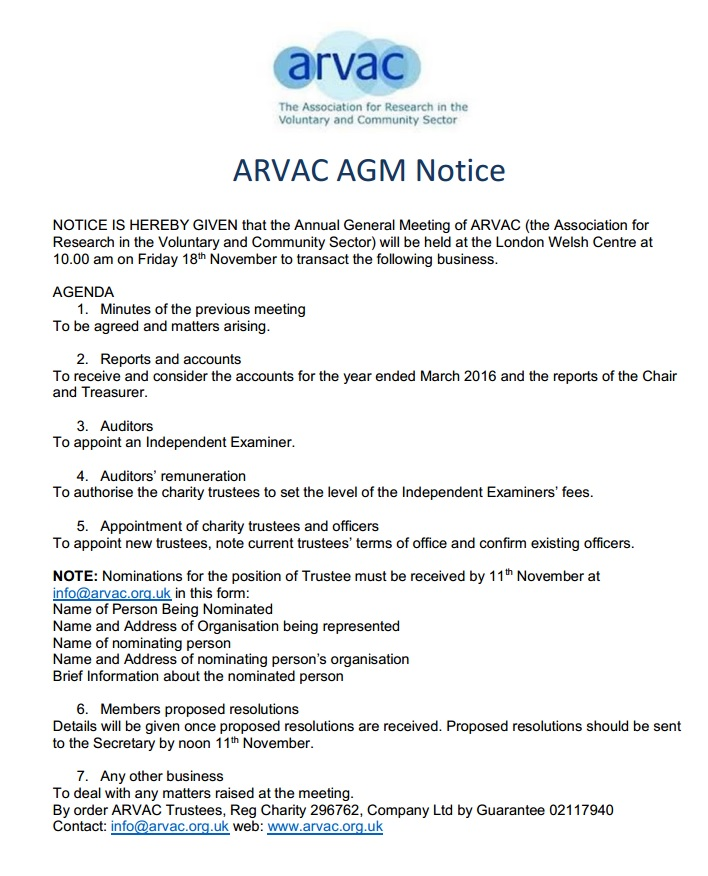 ARVAC AGM Notice and Nomination