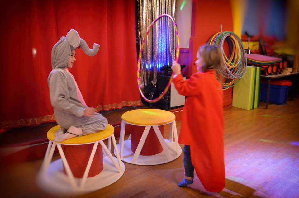 Elephant and ring master pretend play at Magical Circus.