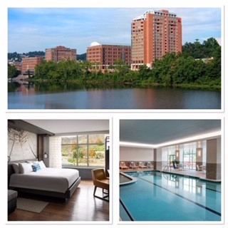 Image of Morgantown Marriott Hotel with bedroom and swimming pool