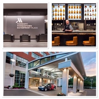 Image of Morgantown Marriott Hotel front entrance, lobby and bar